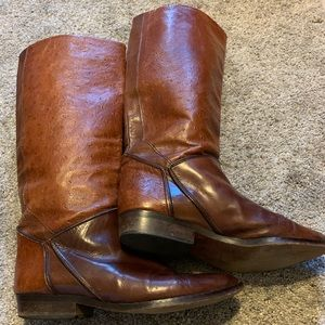 Ostrich Skin Leather Riding Boots